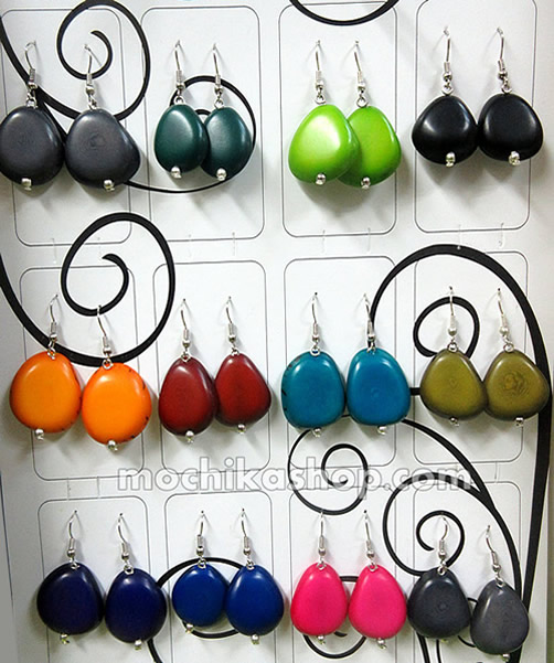 12 Peruvian Wholesale Tagua Heart Earrings Assorted Colors