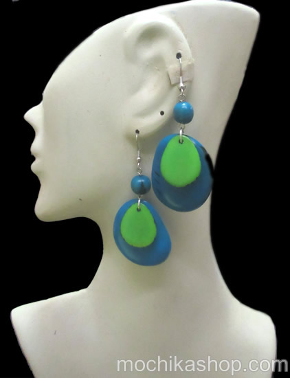 12 Peruvian Tagua Earrings Handmade Flat Sliced Two Colours
