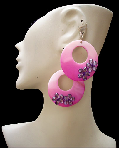 Donuts Design Mother of Pearl Earrings