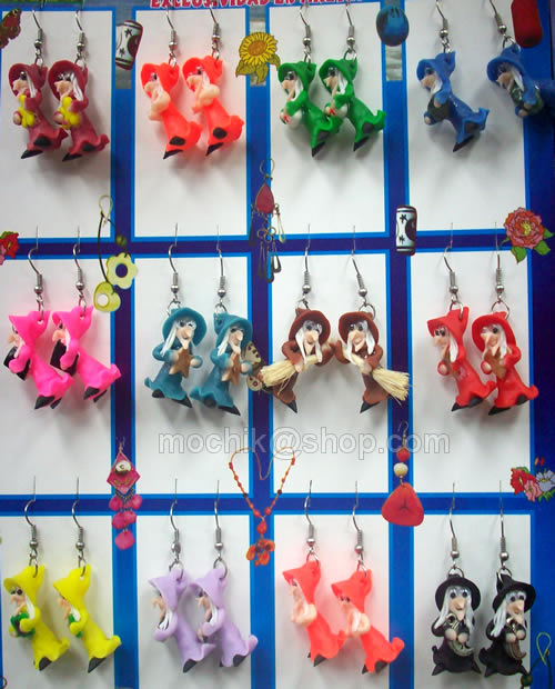 12 Peruvian Nice colorful Small Witches Ceramic Earrings
