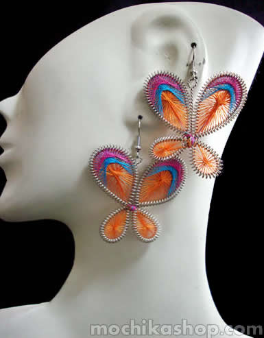 Butterfly Design Peruvian Thread Earrings