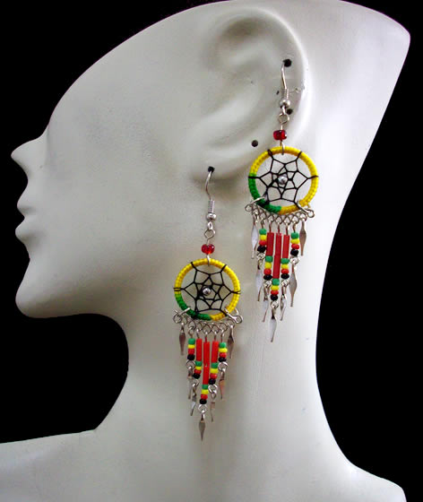 12 Peruvian Nice Small Canutillo Dreamcatcher Thread Earrings