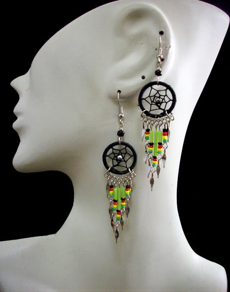 06 Peru Pretty Small Canutillo Dreamcatcher Thread Earrings