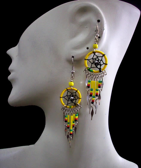 Lot 24 Peruvian Small Canutillo Dreamcatcher Thread Earrings