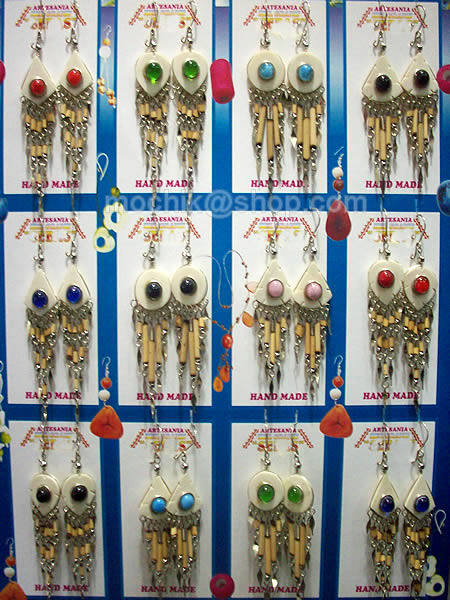 50 Pretty Peru Wholesale Bone Earrings with Bamboo Bunch Design
