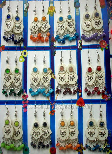 50 Peruvian Wholesale Bone Earrings with Cascajo Gravel Stone