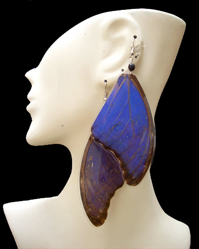 Morpho Blue Butterfly Wings Earrings