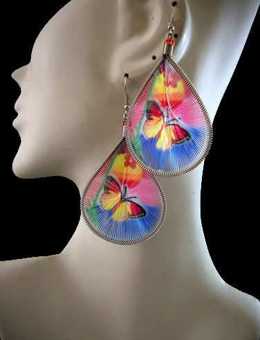 Butterfly Images Teardrop Peruvian Thread Earring