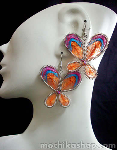 Lot 24 Peruvian Alpaca Silver Thread Earrings Butterfly Design