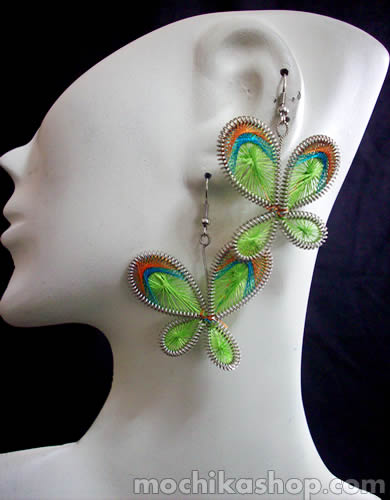 12 Nice Handmade Alpaca Silver Thread Earrings Butterfly Design