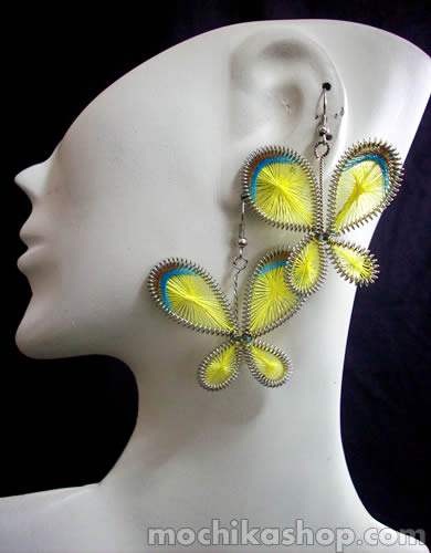 100 Peruvian Alpaca Silver Thread Earrings Butterfly Design