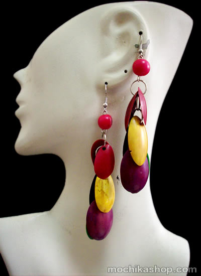12 Peruvian Pretty Multicolor Palmito Seeds Earrings