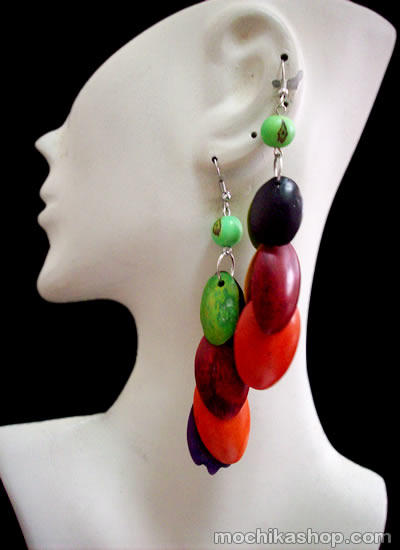 Lot 24 Peruvian Wholesale Multicolor Palmito Seeds Earrings