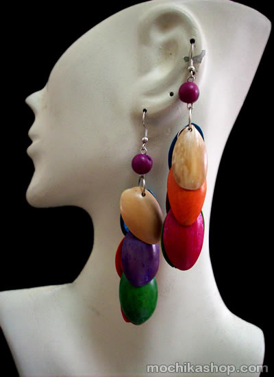 06 Beautiful Peruvian Multicolor Palmito Seeds Earrings