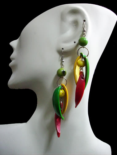 06 Beautiful Peruvian Palmito Seeds Earrings Mixed Colours