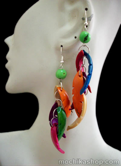 Colored Toothed Palmito Earrings