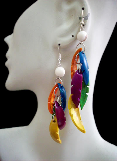 Lot 50 Peruvian Tribal Toothed Palmito Seeds Earrings Colorful
