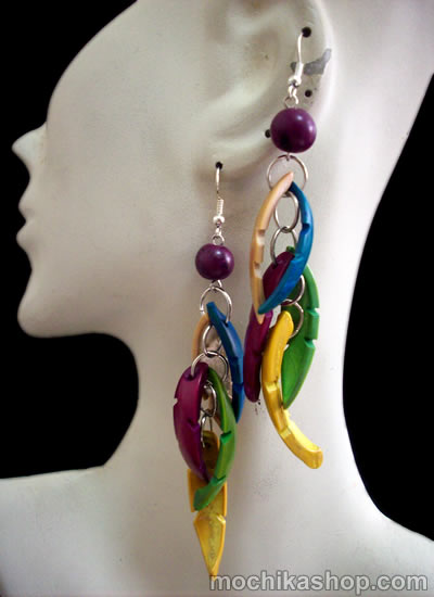 06 Nice Peru Toothed Palmito Seeds Earrings Multicolor Design