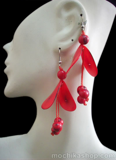 06 Pretty Peruvian Tagua Chips Earrings With Acai Beads
