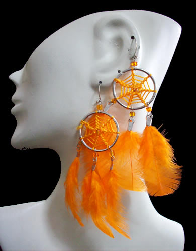 12 Peruvian Dreamcatcher Earrings Handmade Feathers Colorful