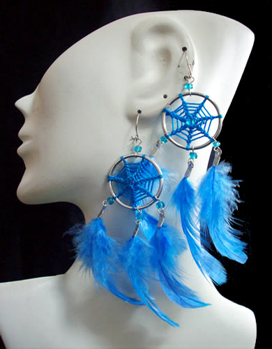 Lot 24 Peru Dreamcatcher Earrings Handmade Feathers Colored