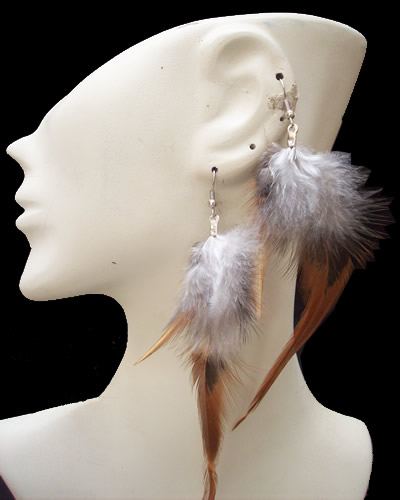 Rooster Feathers Peruvian Earrings