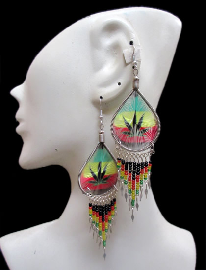Lot 24 Peruvian Teardrop Thread Earrings Rasta Canutillo Design