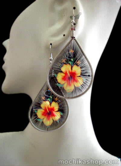 Flowers Images Teardrop Peruvian Thread Earrings