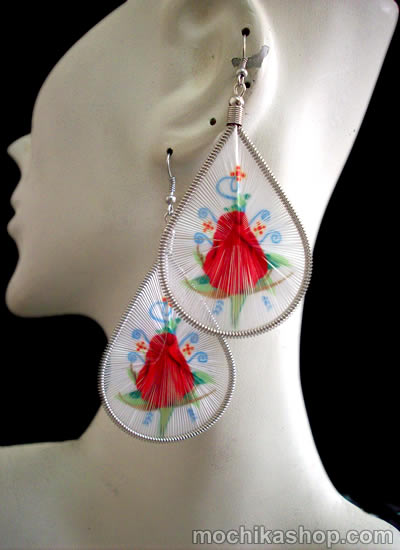 12 Pretty Peruvian Teardrop Thread Earrings Flower Images