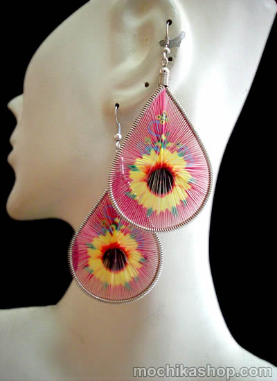06 Beautiful Peruvian Teardrop Thread Earrings Flower Images