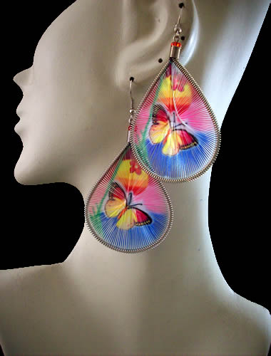 06 Peruvian Beautiful Teardrop Thread Earrings Butterfly Images