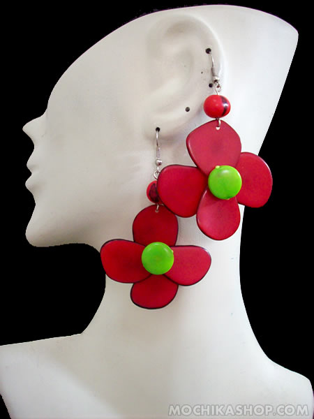 50Peruvian Wholesale Tagua Earrings Flower Design Colored