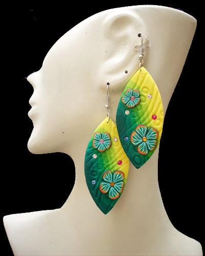 Flower Images Peruvian Rubber Earrings