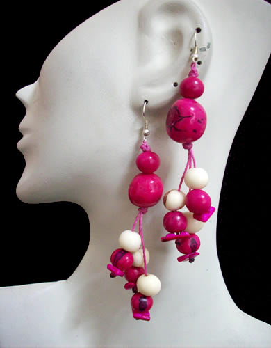 50 Wholesale Peruvian Bombona Earrings With Acai Seeds Beads
