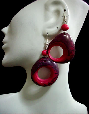 06 Nice Peruvian Classic Tagua Donuts Earrings Colored