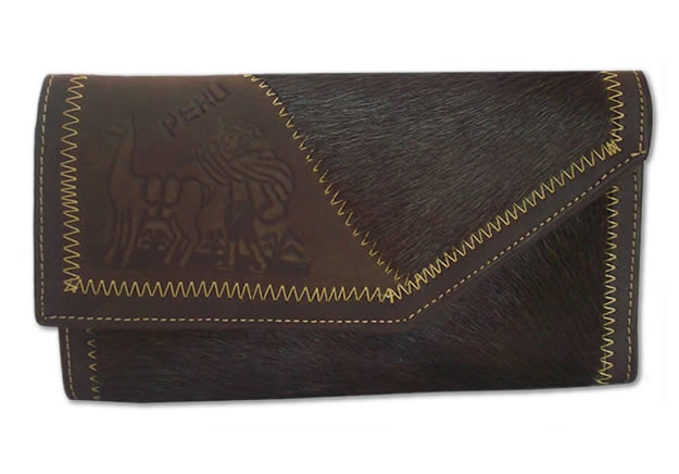 Peruvian Medium Size Wallet Handmade Leather Andean Carved Image
