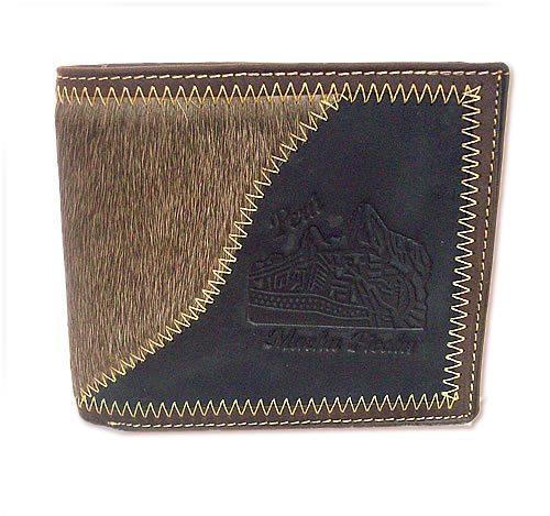 Nice Peruvian Wallet Handmade Leather MACHU PICCHU Carved Image