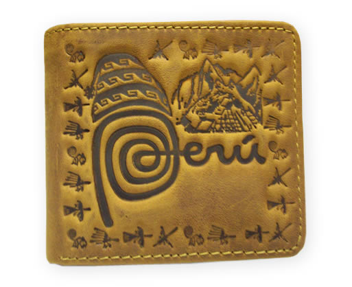 Peruvian Handmade Leather Wallet PERU BRAND Carved Images