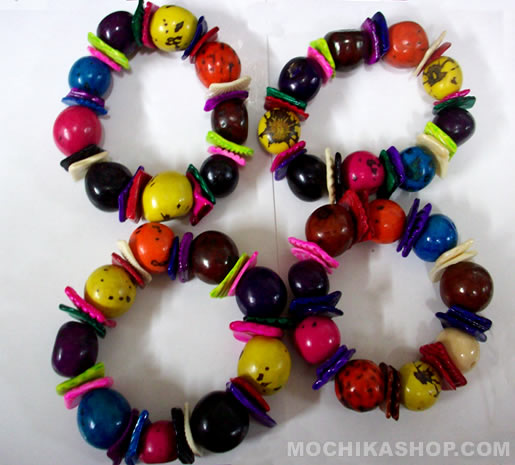 Lot 24 Peruvian Colorful Bombona Bracelets With Small Shells