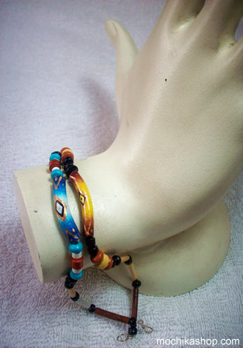 100 Wholesale Peruvian Bracelets Handmade Ceramic and Bamboo
