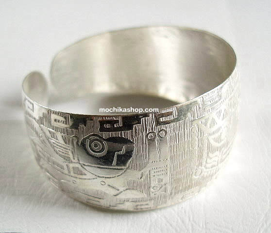 06 Beautiful Inca Silver Plated Cuff Bracelets