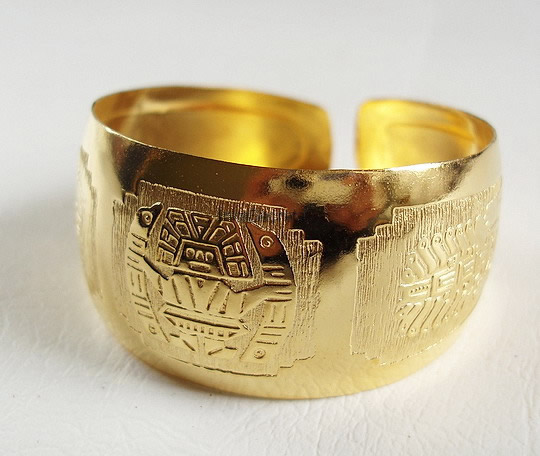12 Embossed Peruvian Gold Plated Cuff Bracelets Inca Design