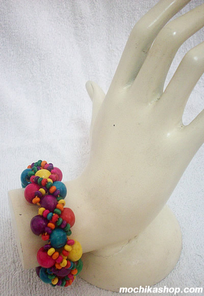12 Peruvian Pretty Eco Wood Stretch Bracelets Handmade
