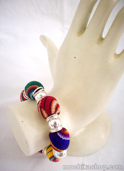 24 Wholesale Handmade Cusco Manta Stretch Bracelets Multicolor