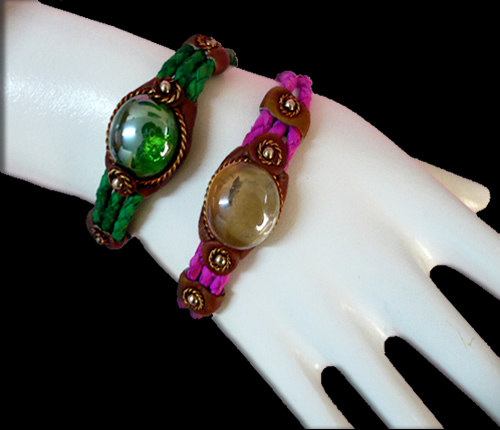 Lot 25 Peruvian Gem Glass Bracelets Handmade Leather