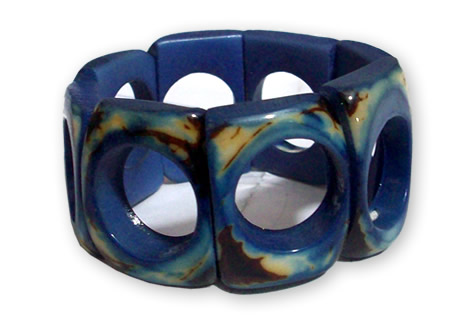 06 Peruvian Pretty  Resined Tagua Donut Bracelets Crust Design