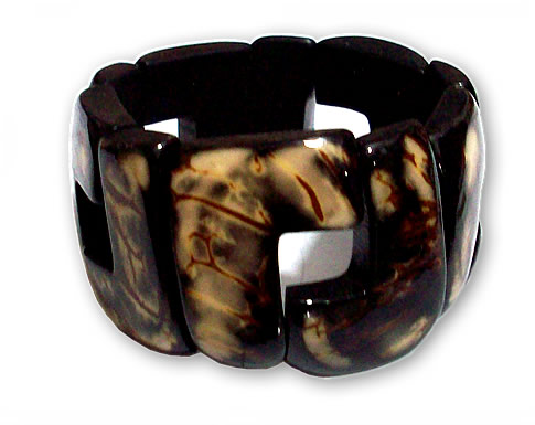 24 Peru Wholesale Resined Crust Tagua Bracelets Square Shape