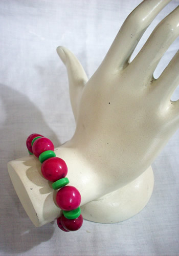 Lot 24 Peruvian Colorful Bombona Bracelets With Tagua Button