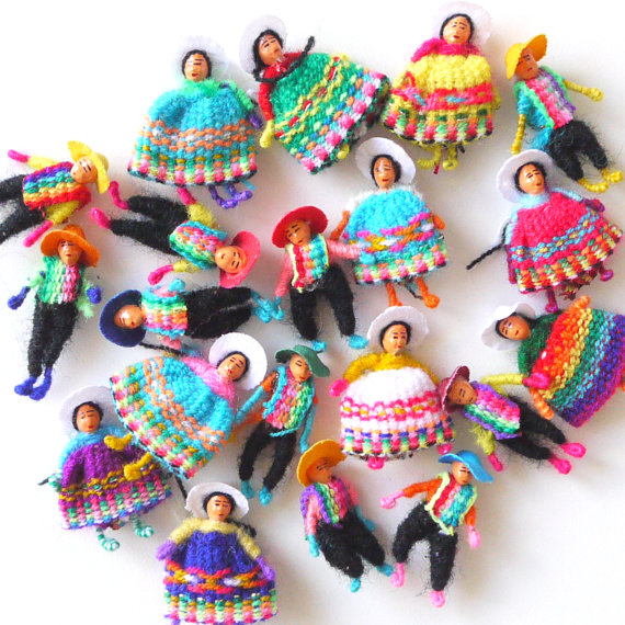 Lot 12 Peru Handmade Brooches Andean Worry Dolls Couples Pins
