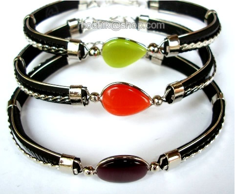 06 Wholesale Bracelets made of Cat's Eye Stone and Black Rubber